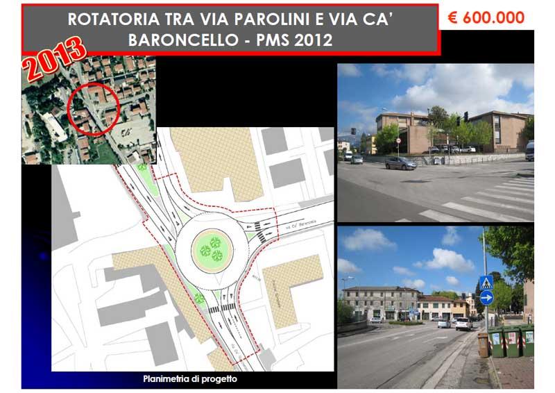 Rotatoria tra Via Parolini e Via Cà Baroncello
